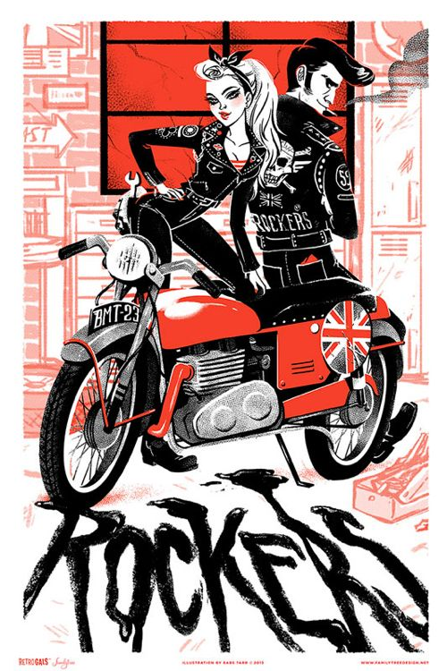 """""""Retro Gals : Mods and Rockers"""" Art Print Series from Familytree"""