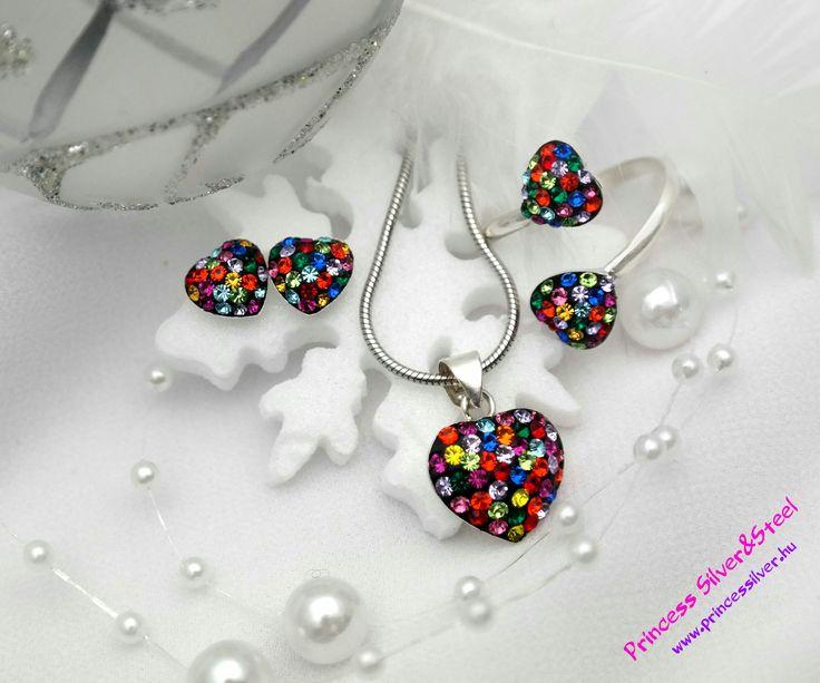 Mix színű, ragyogó Swarovski kristályos szív szett 2 Részletek: www.princessilver.hu