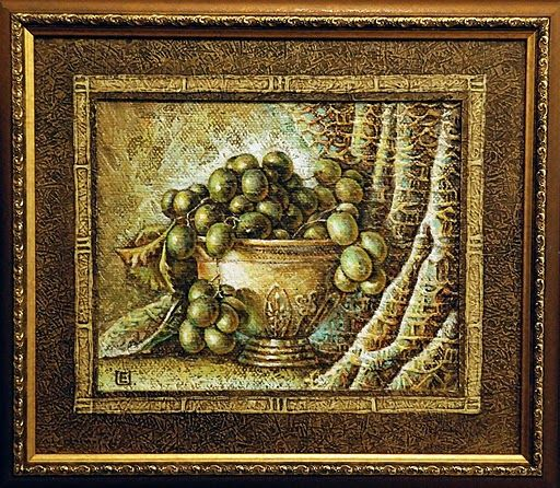 Grapes 21x28 cm. Oil on canvas, special texture.