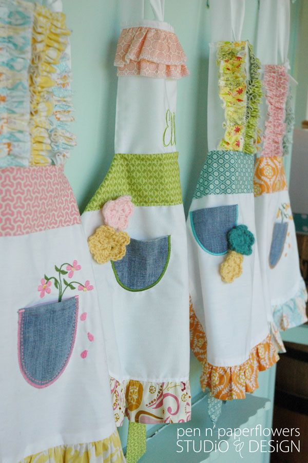 "Every baking party or ""Pocket Full of Posies"" party need some adorable aprons to go with it!! LOVE these! #stylishkidsparties"