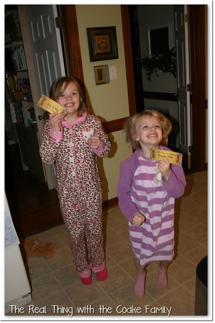 "cute christmas tradition idea: When the kids are ready to get into bed, hide a ""mini-van express"" ticket under their pillow. Bring some hot chocolate and popcorn in the car and stay out late to look at Christmas lights."