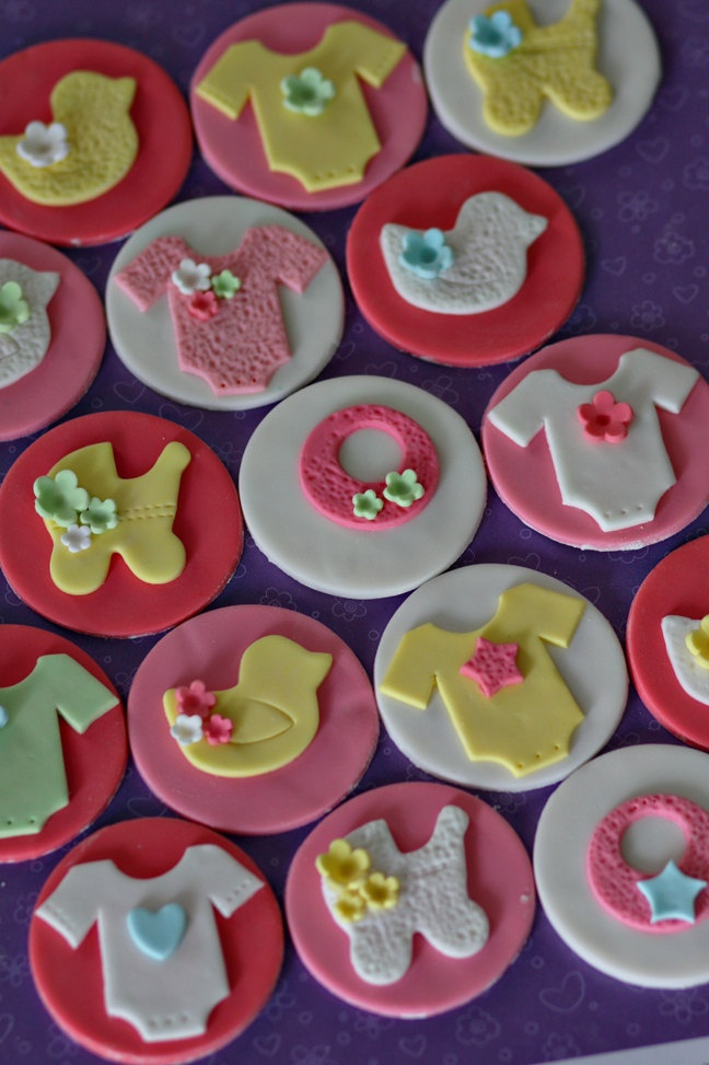 Baby Shower Fondant Bib Bottle And Pacifier Toppers For Cupcakes