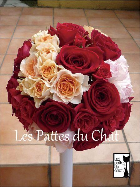 ウェディングフラワーセレクトショップ ~レ・パデュシャ~(WeddingFlowerSelectshop ~Les Pattes du Chat~)... ラウンドブーケ ~レッド&オレンジ~