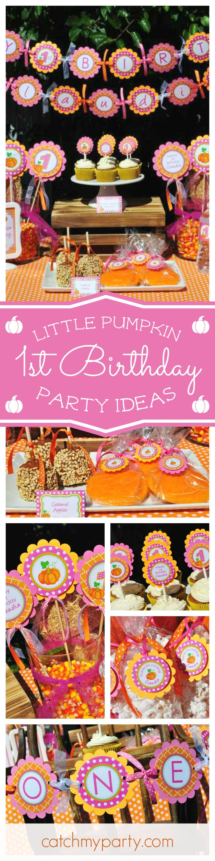 You are going to love this cute Little Pumpkin 1st birthday! Loving the fall colored printables! See more party ideas and share yours at CatchMyParty.com