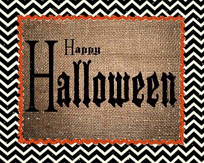 Happy Halloween 8x10 printable - Love the black & white chevron pattern: