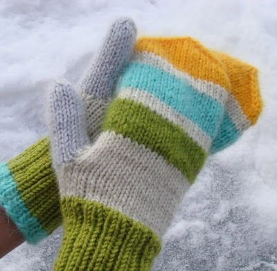 I do not need these colorful mittens because it's never this cold here, but if I did, I would sooo knit these.  LOVE those colors together!