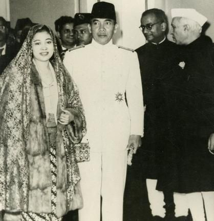 The Indonesia President accompanied by Lady Sukarno and Prime Minister Pandit Jawaharlal Nehru visiting the studios of All India Radio to broadcast a message on Republic Day, 1950.