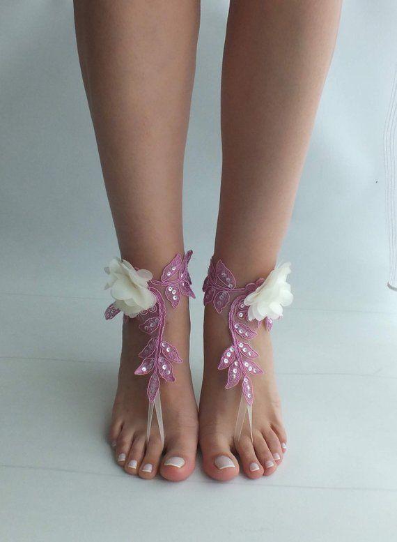 930fb4888859 Beach wedding barefoot sandals lilac ivory flowers wedding shoes ...