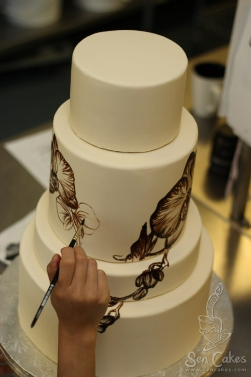como dibujar en un pastel: Orchids Cakes, Orchids Hands Paintings, Hands Paintings Cakes, Cakes Art, Cakes 3, Cakes Inspiration, Handpaint Cakes, Cakes Idea, Orchids Weddings Cakes