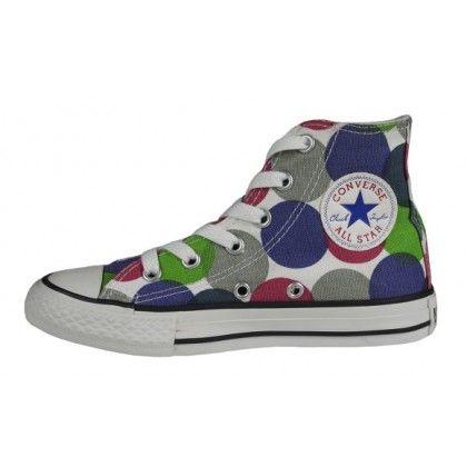 Converse Kinder Chucks Canvas Hi Dot Print Blue Mirage Grey
