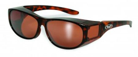 These elegant, tortoise-shell patterned safety glasses fit over your prescription glasses.
