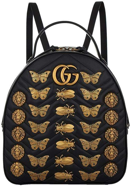 6826ad1db642 Gucci Marmont Gold Bug Backpack