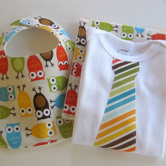 owl bib, burp cloth,and tie onesie by CorinneCitrolo: Baby Boy Bibs, Ties Bodysuit, Baby Nursery Owl, Baby Boys Bibs, Gifts Sets, Bodysuit Giftset, Burp Clothing, Bright Colors, Baby Stuff