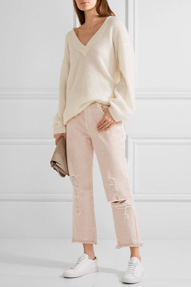 J Brand - Ivy Cropped Distressed High-rise Straight-leg Jeans - Pastel pink - 23