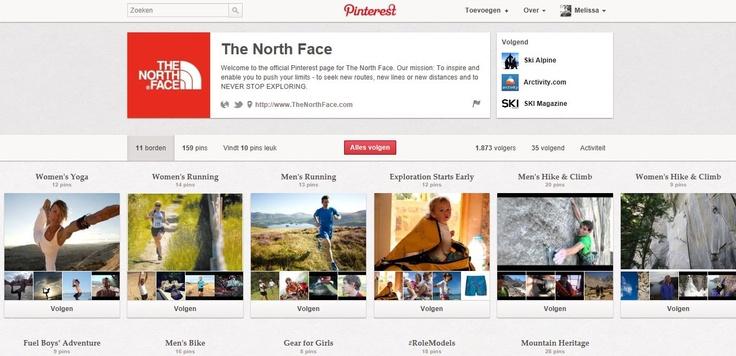 The North Face gebruikt Pinterest voornamelijk om hun collectie aan het grote publiek bekend te maken. Het voordeel van Pintrest is dat men mensen kan zien die de kledij dragen. Dit is een voordeel omdat je op de website simpelweg de kledij ziet op een witte achtergrond maar niet weet hoe het kledingstuk zich aan het lichaam aanpast. The North Face heeft voor zowel mannen als vrouwen aparte borden per thema met foto's aangemaakt.   [Link: http://pinterest.com/thenorthface/]