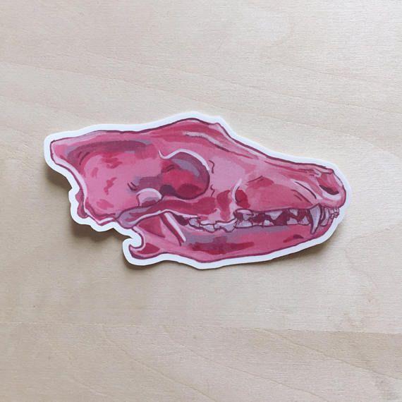 Pink Skull Vinyl Sticker  Coyote Skull