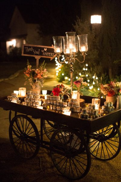 candy and dessert cart...this would be romantic at night....love!!
