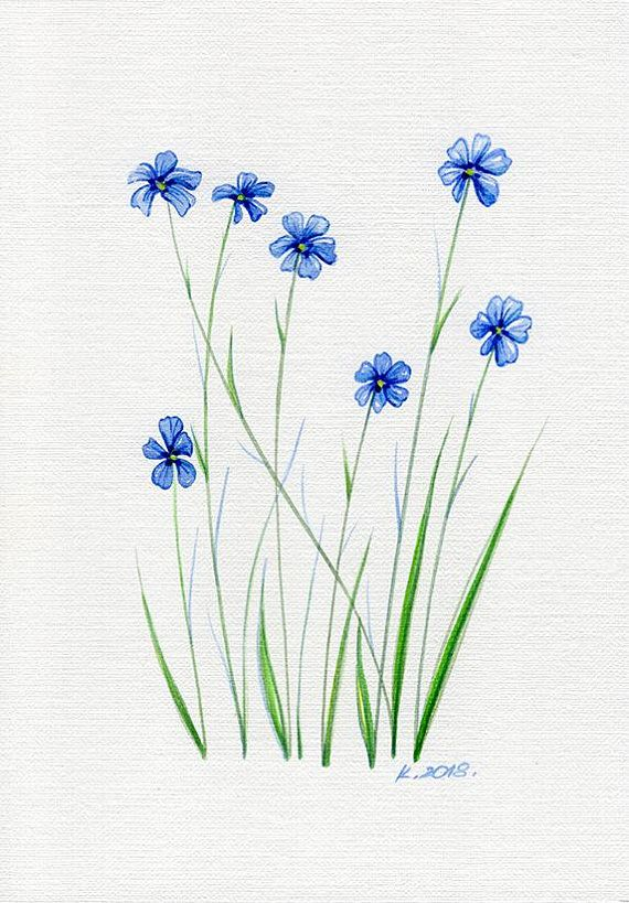 Flowers Grass Herbs Blue Green Watercolor Original Painting Art Quick Sketch Flower Painting Watercolor Paintings Easy Art Painting