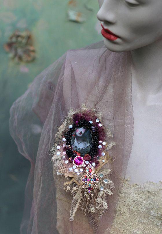 Nostalgia brooch bold brooch antique lace by FleursBoheme on Etsy