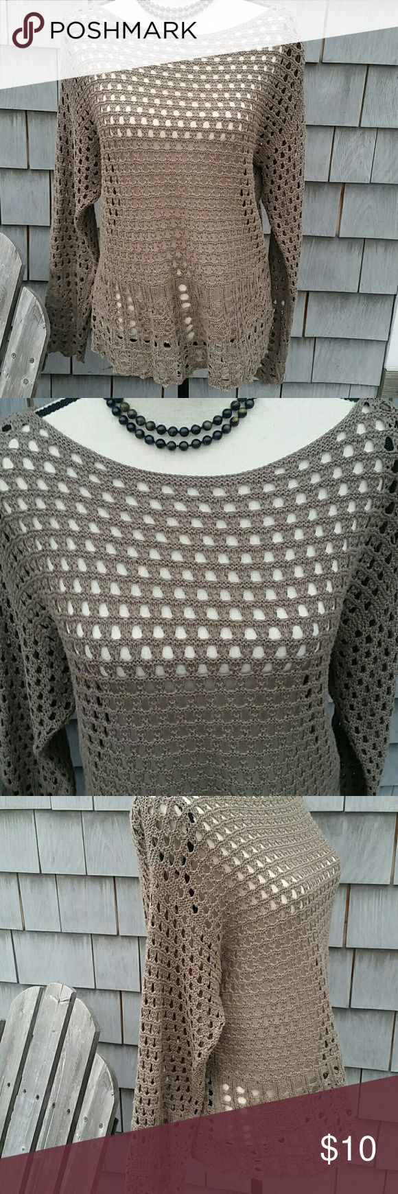 Jeanne Pierre sweater Beautiful crochet Bohemian fibe sweater looks hand made. Taupe color, no rips or snags.  Live this Jeanne pierre  Tops
