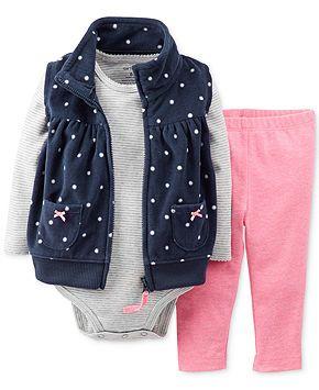 Carter's Baby Girls' 3-Piece Micro-Fleece Vest, Bodysuit & Leggings - Kids - Macy's