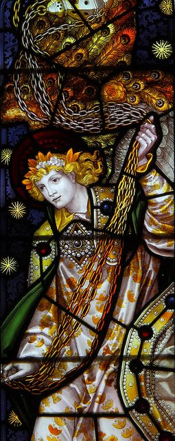 Detail of St. Stephen window by CE Kempe, Aldwark, Yorkshire