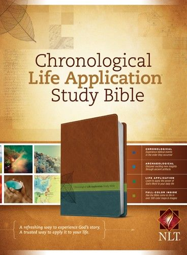 Chronological Life Application Study Bible NLT, TuTone - LeatherLike Brown/Green/Dark Teal/Multicolor With ribbon marker(s)