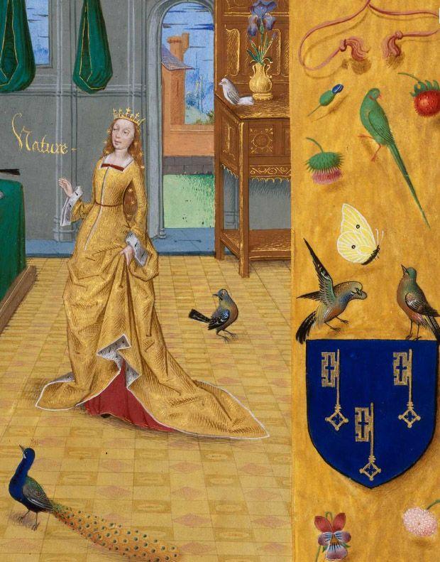 Национальная библиотека Франции, рукописи, Департамент, французский 9197, деталь F.  13 (Природа) Evrart от CONTY, книголюбов неудачи.  Фландрия, 15-го века.  Исполнитель: Мастер Антуана Ролен.