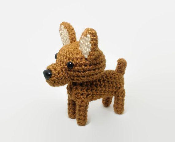 Pinscher miniatura peluche animales Amigurumi perro perro Crochet / hecho por encargo