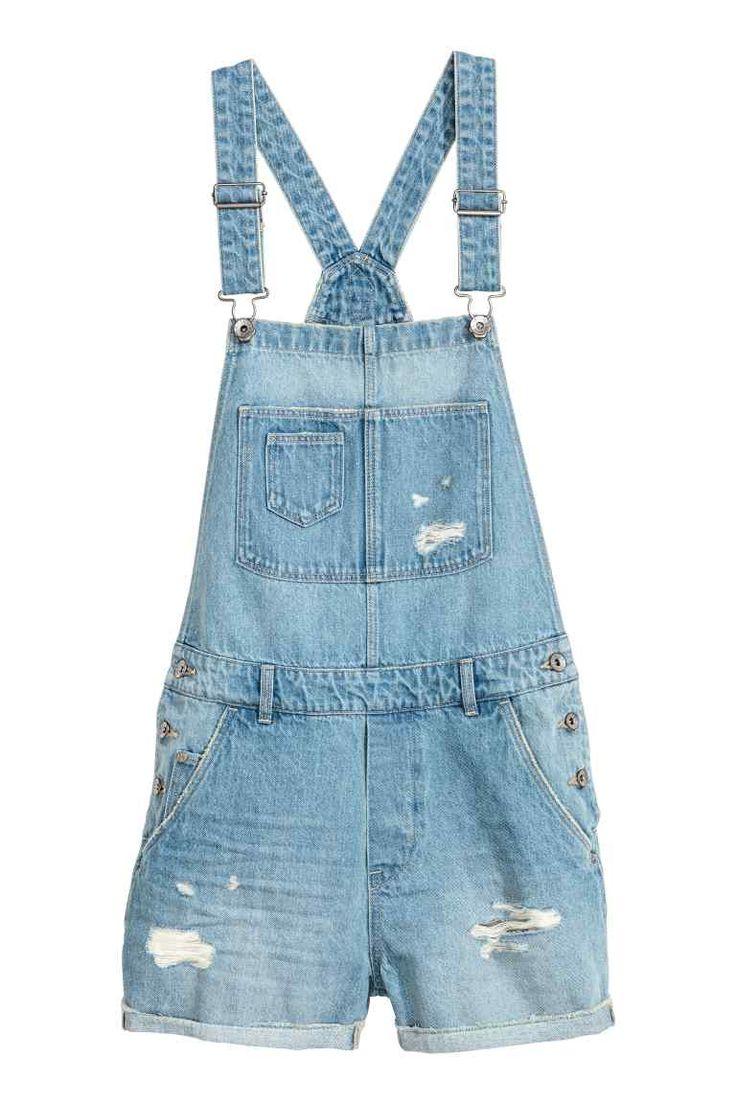 Denim dungaree shorts - Light denim blue - Ladies   H&M CA
