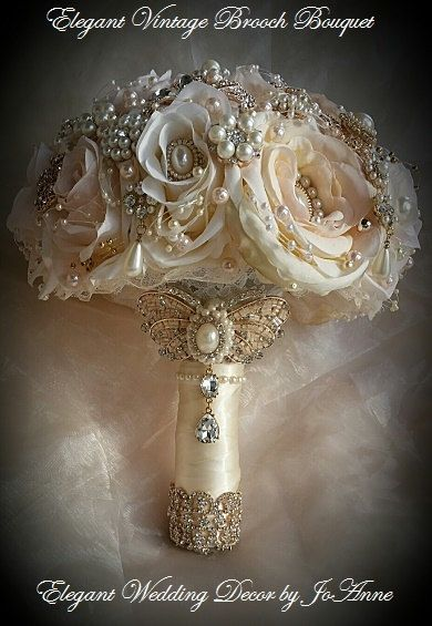 Ivory and Gold Bouquet - DEPOSIT for an Ivory,blush pink and Gold Brides Brooch Bouquet, Ivory and Gold Jeweled Bouquet, full price 485