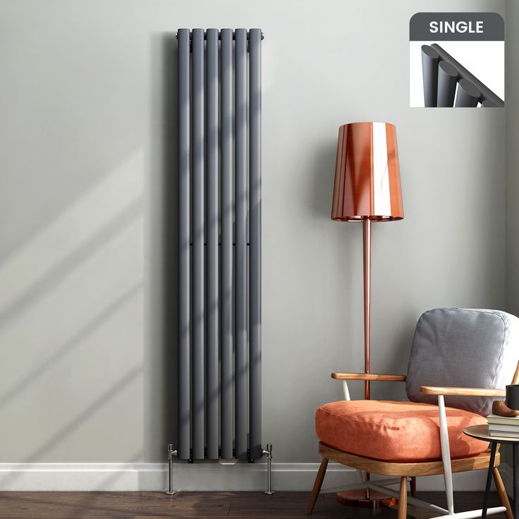 1800x360mm Anthracite Single Oval Tube Vertical Radiator - Ember Premium