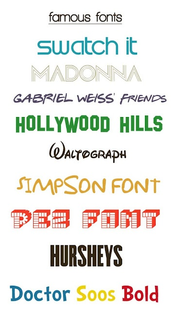 ICONIC FREE FONTS including the following: Swatch, Friends, Hollywood Hills, Walt Disney, Simpson, Pez, Hershey's, and Dr. Seuss