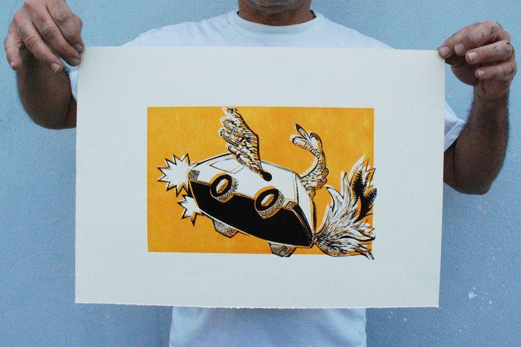 Carrinha Voadora - Linogravura - Walter Almeida 2014