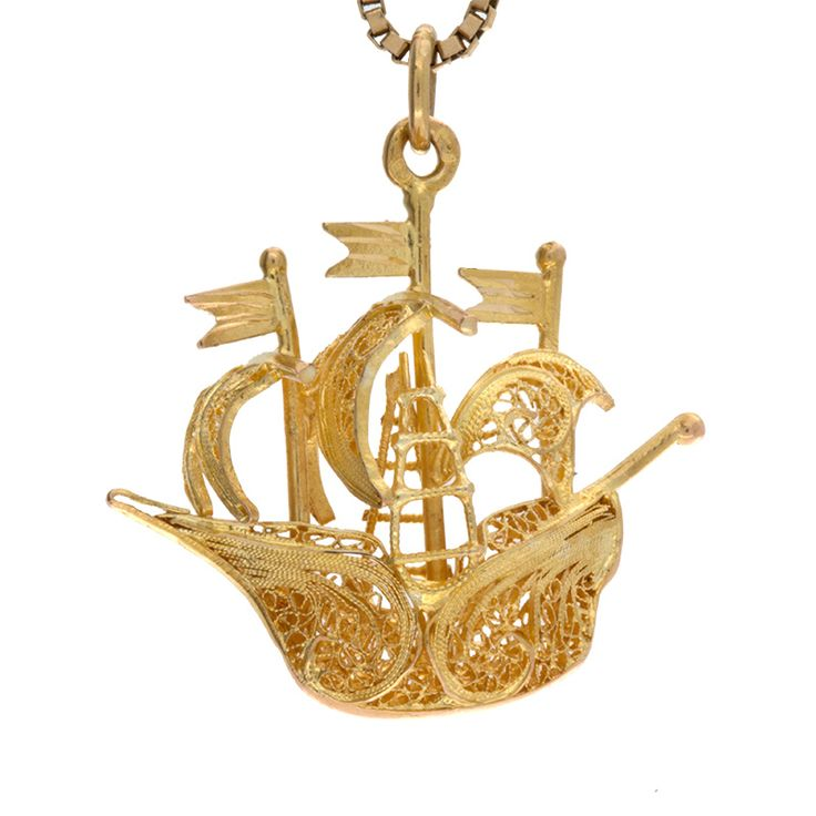 Ahoy, Matey! Striking .800 yellow gold 3D pirate ship pendant/charm. Well-made with excellently detailed filigree accents and a high polish finish. Secured by a sturdy bale and nice weight. Can be worn as a pendant on a chain or as a charm on your favorite bracelet, the choice is yours!