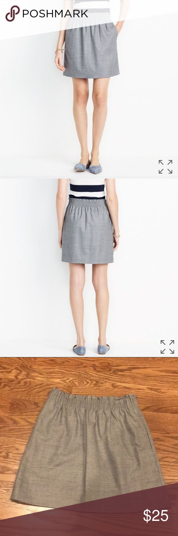 J.Crew Factory Wool Sidewalk Skirt Perfect skirt for fall and winter! Adorable wool/poly/viscose skirt. New with tags, never been worn.   Elastic waistband. Lined, with pockets. Dry clean.   // Smoke free, pet free home. No trades. Reasonable offers welcome. // J. Crew Factory Skirts