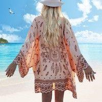 Wish | Women Girl Long Sleeve Boho Chiffon Cardigan Loose Blouse Cover Up(Beige/Pink/green) (S/M/L/XL)