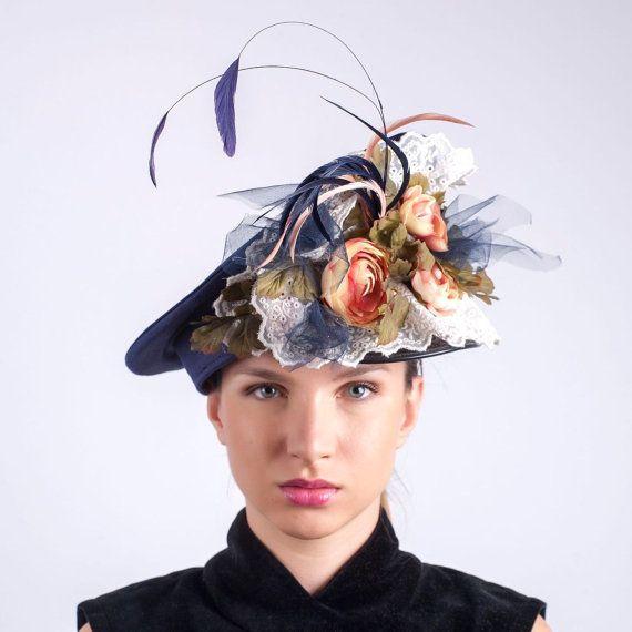 Flowerpower beret cap, Royal Ascot hat, Derby hat, Burlesque show cap, Couture party headpiece, Mardi grass hat, Edwardian hat, Carnival hat