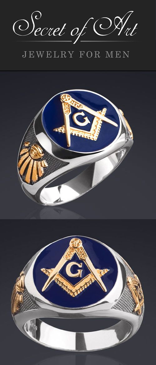 Details about Masonic Ring Blue Lodge 925 Silver with 24K