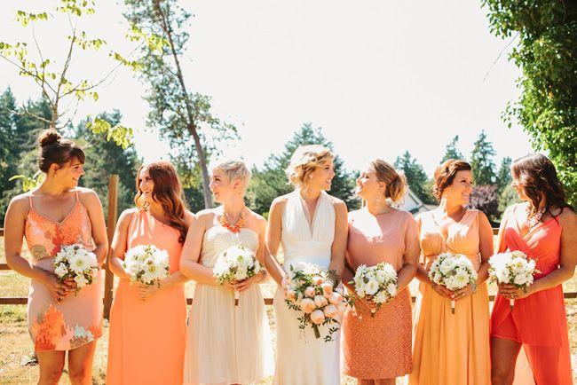 Shades of coral - Morgan and Sean's Wedding by Angela & Evan Photography - via loveandlavender
