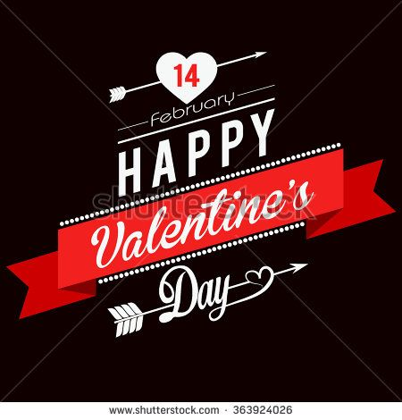 Valentines day illustrations and typography elements with retro vintage styled design - stock vector