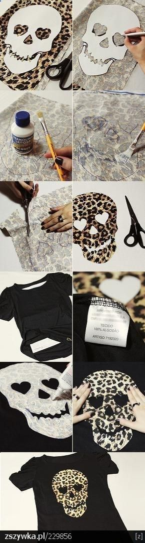 DIY - Leopard print skull shirt/top.