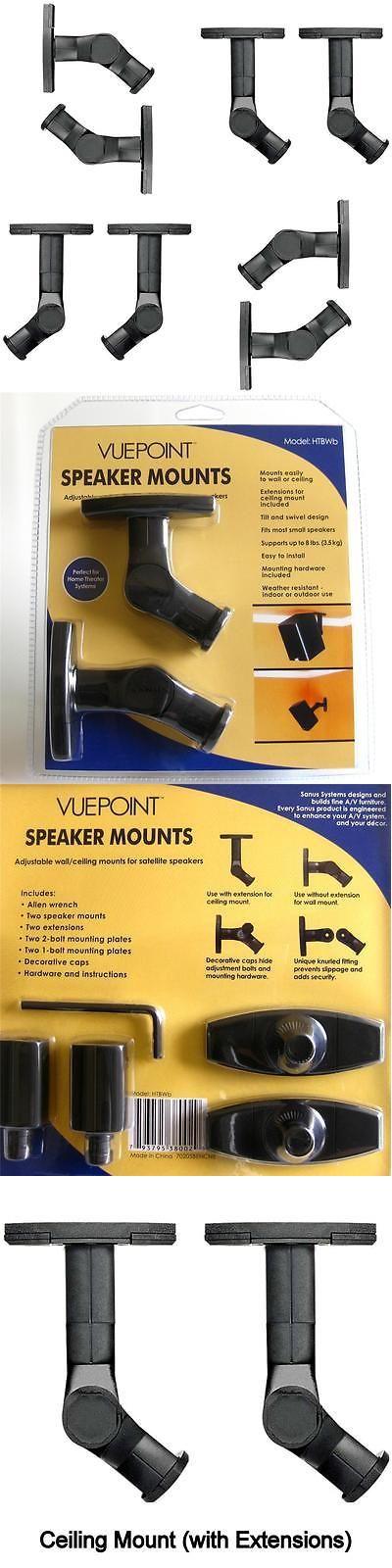Speaker Mounts and Stands: (8) Sanus Brand Universal Tilt Swivel Black Speaker Wall Mounts Ceiling Brackets BUY IT NOW ONLY: $43.99