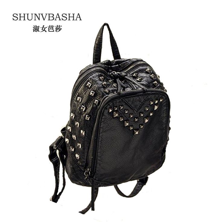 Women PU Leather Backpack Newest Zipper Students School Bagpack Mochila Female Travel Bags Rivet Decoration Backpack For Ladies