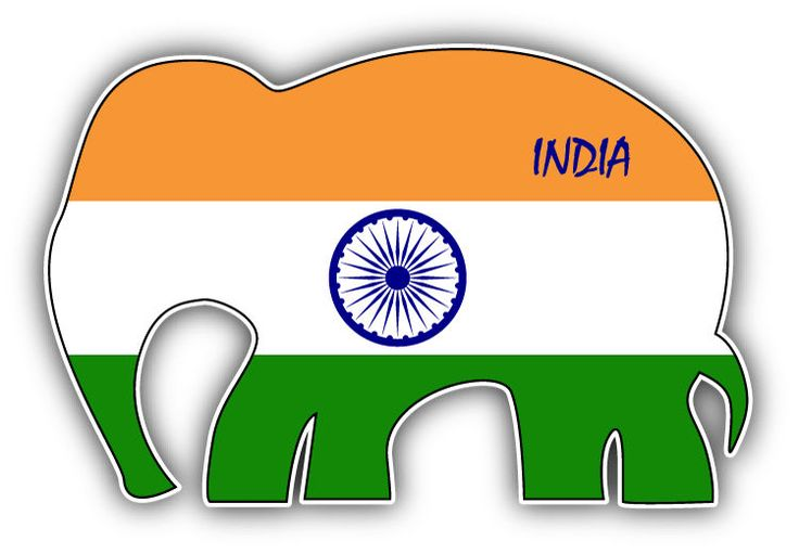 India Flag Elephant Car Bumper Sticker Decal 5   x 3