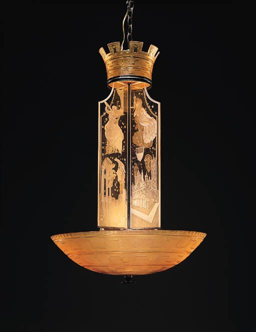 180 best art deco chandeliers images on pinterest art deco etched glass chandelier orrefors in pale yellow glass with a domical shade etched with a mozeypictures Image collections