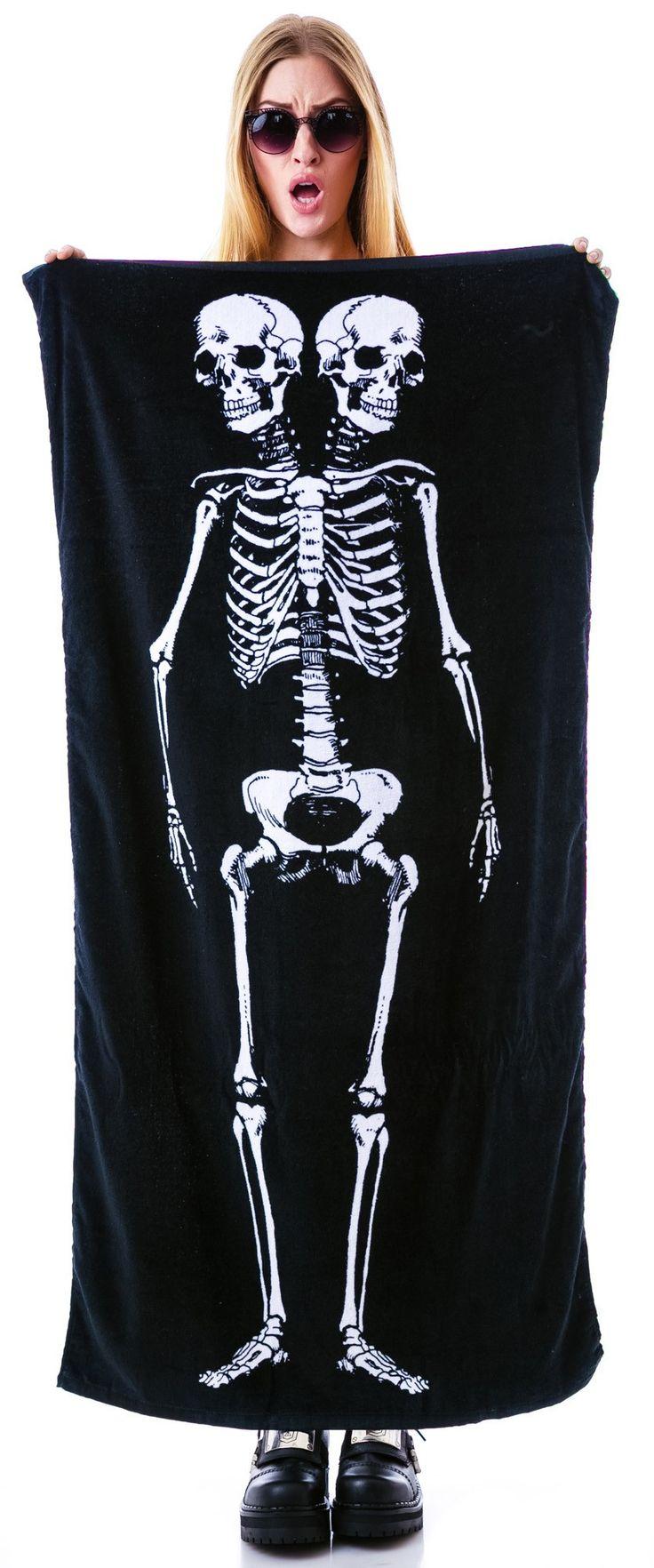 Sourpuss Clothing Skeleton Beach Towel | Dolls Kill | I NEED THIS!!!!! <3
