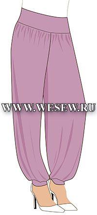 Выкройка брюк в восточном стиле (Шаровары) Обхват талии 76см,  Обхват бедер 100см,  Рост 170см.