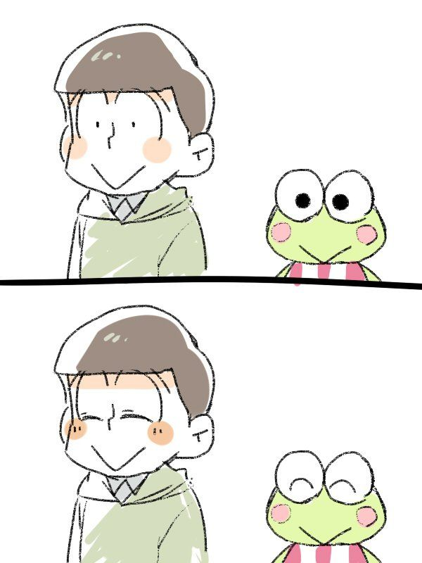 By @kamome0w0 on twitter - AWWW! Such a cute crossover! Osomatsu-san x Sanrio! Choromatsu x Keropi!