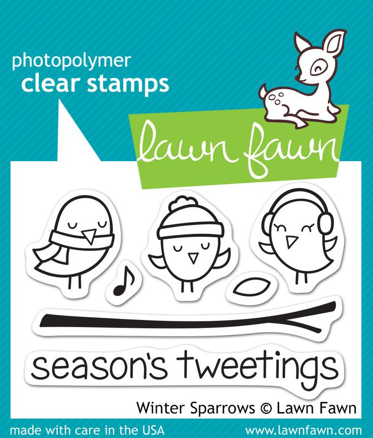 Lawn Fawn stamps - Winter Sparrows (with matching Lawn Cuts)